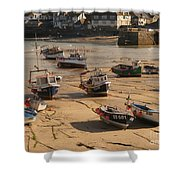 Boats On Beach 03 Shower Curtain by Pixel Chimp