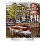 Boats On Canal In Amsterdam Shower Curtain by Artur Bogacki