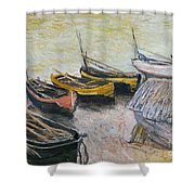 Boats on the Beach Shower Curtain by Claude Monet
