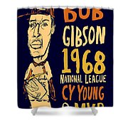 Bob Gibson St Louis Cardinals Shower Curtain by Jay Perkins