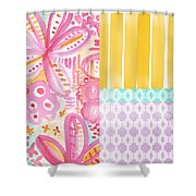 Boho Aztec Patchwork- Flower Painting Shower Curtain by Linda Woods