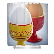Boiled Eggs In Cups Shower Curtain by Elena Elisseeva