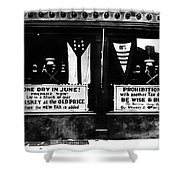 Bone Dry in June - Prohibition Sale Shower Curtain by Bill Cannon