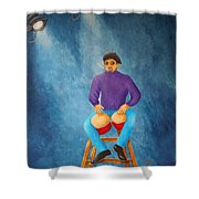 Bongo Man Shower Curtain by Pamela Allegretto