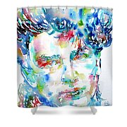 Bono Watercolor Portrait.1 Shower Curtain by Fabrizio Cassetta