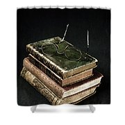 Books With Glasses Shower Curtain by Joana Kruse