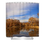Bosque Del Apache Reflections Shower Curtain by Mike  Dawson