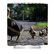 Boston Bruins Ducklings Shower Curtain by Juergen Roth