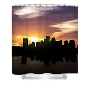 Boston Sunset Skyline  Shower Curtain by Aged Pixel
