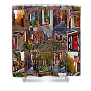Boston Tourism Collage Shower Curtain by Joann Vitali