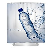 Bottle Water And Splash Shower Curtain by Johan Swanepoel