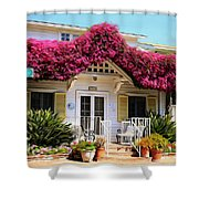 Bougainvillea House Shower Curtain by Cheryl Young