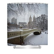 Bow Bridge Central Park in Winter  Shower Curtain by Vivienne Gucwa