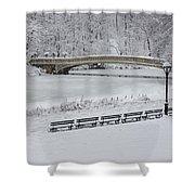 Bow Bridge Central Park Winter Wonderland Shower Curtain by Susan Candelario