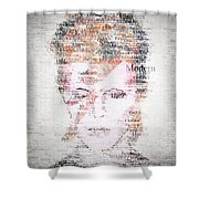 Bowie Typo Shower Curtain by Taylan Apukovska