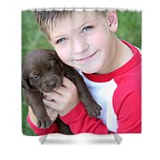 Boy Holding Puppy Shower Curtain by Colleen Cahill