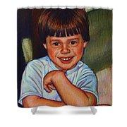 Boy In Blue Shirt Shower Curtain by Kenneth Cobb