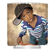 Boy Wearing Over Sized Hat Riding Bike Shower Curtain by Ron Nickel