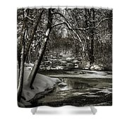 Brainards Bridge After A Snow Storm 4 Shower Curtain by Thomas Young