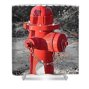 Brand New Red Hydrant On Bw Shower Curtain by Jeff at JSJ Photography