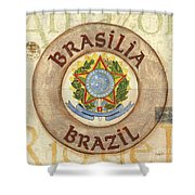Brazil Coat Of Arms Shower Curtain by Debbie DeWitt