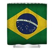 Brazil Flag Vintage Distressed Finish Shower Curtain by Design Turnpike