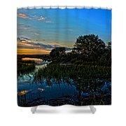 Break Of Dawn Over Low Country Marsh Shower Curtain by Savlen Art