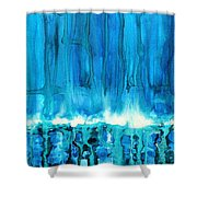 Breakers Off Point Reyes Original Painting Shower Curtain by Sol Luckman