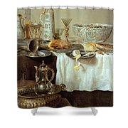 Breakfast Still Life Shower Curtain by Willem Claesz Heda