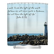 Breakwater Lighthouse Santa Cruz With Verse  Shower Curtain by Barbara Snyder