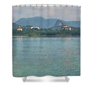 Bridge Of The Americas From Casco Viejo - Panama Shower Curtain by Julia Springer