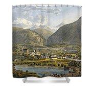 Brig On The Rhone, Bernese Alps Shower Curtain by Swiss School