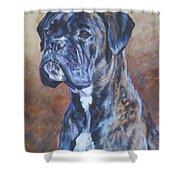 Brindle Boxer Shower Curtain by Lee Ann Shepard