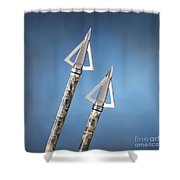 Broadheads On Blue Shower Curtain by Jerry McElroy
