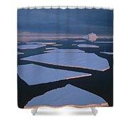Broken Fast Ice Under Midnight Sun East Shower Curtain by Tui De Roy