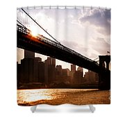 Brooklyn Bridge And Skyline Manhattan New York City Shower Curtain by Sabine Jacobs