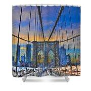 Brooklyn Bridge At Dusk Shower Curtain by Randy Aveille