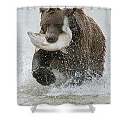 Brown Bear with Salmon catch Shower Curtain by Gary Langley
