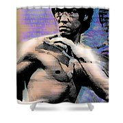 Bruce Lee And Quotes Shower Curtain by Tony Rubino