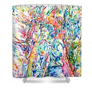 Bruce Springsteen And Clarence Clemons Watercolor Portrait Shower Curtain by Fabrizio Cassetta