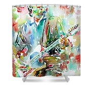 BRUCE SPRINGSTEEN PLAYING the GUITAR WATERCOLOR PORTRAIT.3 Shower Curtain by Fabrizio Cassetta