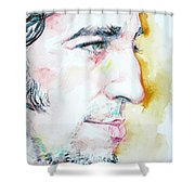 BRUCE SPRINGSTEEN PROFILE portrait Shower Curtain by Fabrizio Cassetta