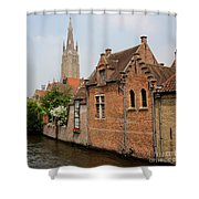 Bruges Houses With Bell Tower Shower Curtain by Carol Groenen