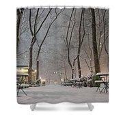 Bryant Park - Winter Snow Wonderland - Shower Curtain by Vivienne Gucwa