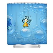 Bubble Folks Shower Curtain by Gianfranco Weiss