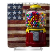Bubblegum Machine And American Flag Shower Curtain by Garry Gay
