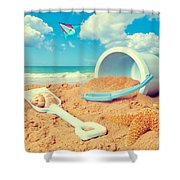 Bucket And Spade On Beach Shower Curtain by Amanda And Christopher Elwell