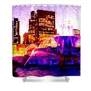 Buckingham Fountain At Night Digital Painting Shower Curtain by Paul Velgos