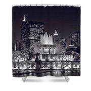 Buckingham Fountain Panorama Shower Curtain by Steve Gadomski