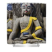 Buddha Figure In Kathmandu Nepal Shower Curtain by Robert Preston